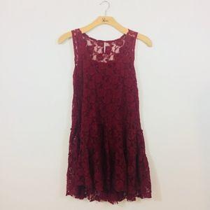 Free People Maroon/RedLace Sleeveless Dress Large